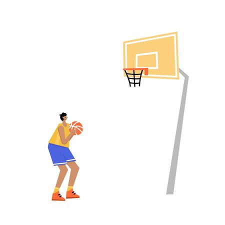 Basketball player shooting ball to the hoop. Free throw. Adult man cartoon action character. Flat vector isolated illustration. Mens basketball championship poster, banner design. Image 1 of 4.   イラスト・ベクター素材