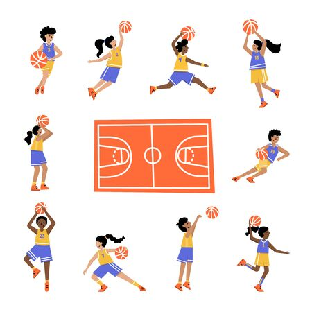 Set of basketball players with balls and court. Boys and girls cartoon action character. Flat vector isolated illustration. Children's basketball championship poster, banner design Ilustracja
