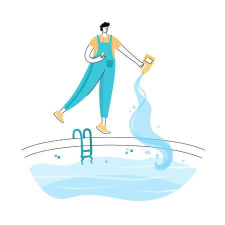 Vector isolated illustration of man shocks and algaecides the swimming pool water with chemicals. Worker in uniform character. Swimming pool maintenance basics. Image 11 of 12