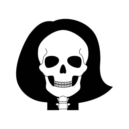 Woman skull anatomy. Flat vector medical illustration isolated. Structure of facial skeleton with main parts. Cranium diagram with part bones. Educational, science poster