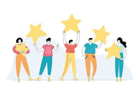Vector isolated illustration of rating feedback and customer review concept. People standing and holding stars. 5 star gold rank. Flat illustration on white background. Email banner design