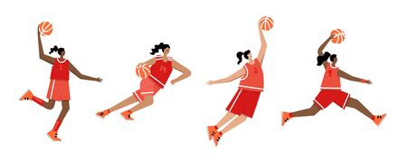 Set of basketball players of same team with balls. Adult woman cartoon action character. Flat vector isolated illustration. Women's basketball championship poster, banner design