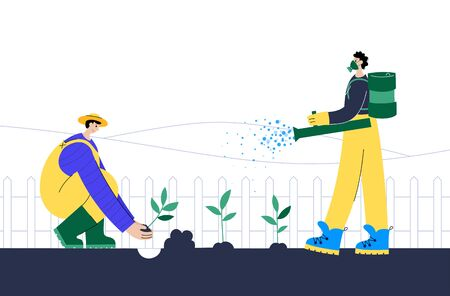 People in a respirator and gloves sprays fertilizer and seedling plants in the ground. Flat vector illustration on white background. Adult male action character. Gardening concept for poster, banner