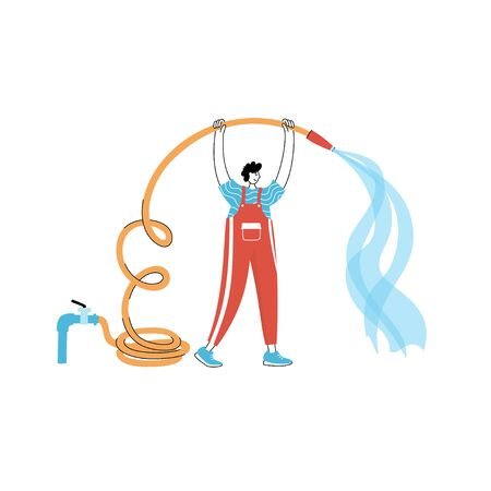 Vector isolated illustration of man filling the swimming pool with water flowing from the hose. Worker in uniform character. Swimming pool maintenance Vektoros illusztráció