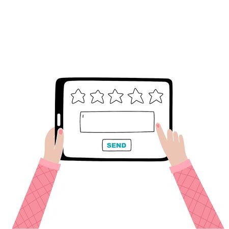 Vector isolated illustration of woman hands holding tablet and touching screen. Website rating feedback and review concept. Vector flat cartoon illustration for web sites and banners design.
