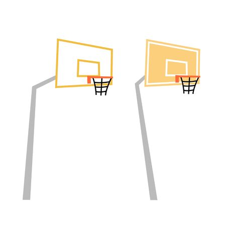 Vector isolated illustration of basketball hoop with backboard icon. Flat illustration on white background. Equipment for basketball court. Illustration