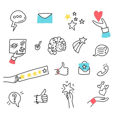 Vector isolated illustration of online review and customer experience concept. Girl face, feedback and rating symbols. Doodle illustration on white background.