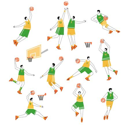 Set of basketball players of same team with balls. Adult man cartoon action character. Flat vector isolated illustration. Men's basketball championship poster, banner design Illustration