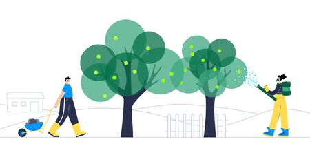 Gardening actions. Woman in a respirator and gloves sprays fertilizer on apple tree. Work with the earth in a wheelbarrow. Flat vector illustration on white background. Gardening concept for poster Ilustración de vector