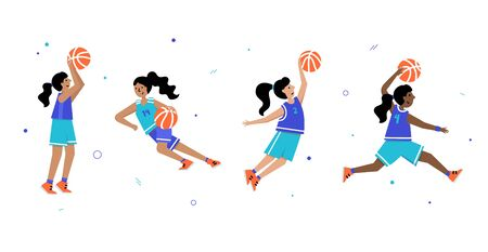 Set of basketball players of same team with balls. Young girl cartoon action character. Flat vector isolated illustration. Children's basketball championship poster, banner design