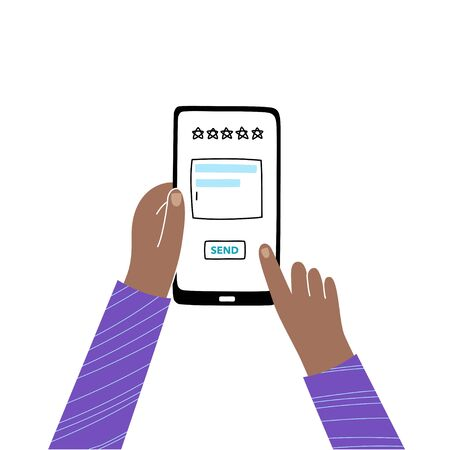 Vector isolated illustration of hands holding smartphone and touching screen. Website rating feedback and review concept. Vector flat cartoon illustration for web sites and banners design.