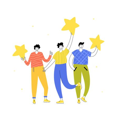 Vector isolated illustration of rating feedback and customer review concept. Men standing and holding stars. Flat illustration on white background. Email banner design Illustration
