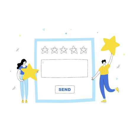Vector isolated illustration of people characters with quality assessment survey giving stars, feedback  on website. Online review concept. Flat illustration on white background. Email banner design