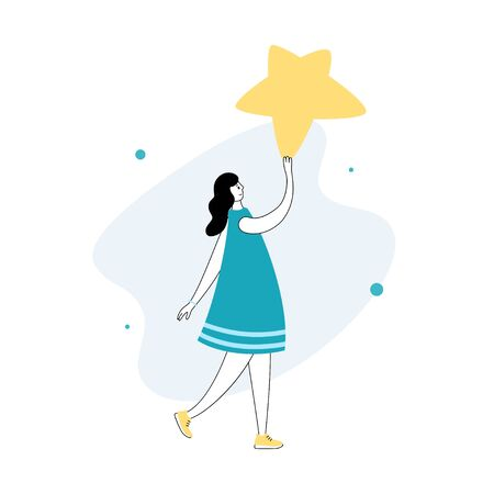 Vector isolated illustration of user feedback and customer review concept. Girl standing and holding rating star. Flat illustration on white background. Email banner design