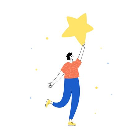 Vector isolated illustration of user feedback and customer review concept. Man standing and holding rating star. Flat illustration on white background. Email banner design