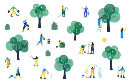 Set of happy people planting and watering tree, picking apples and berries in basket and spray fertilizer during harvest. Adult male, female action characters. Gardening concept for poster. Standard-Bild