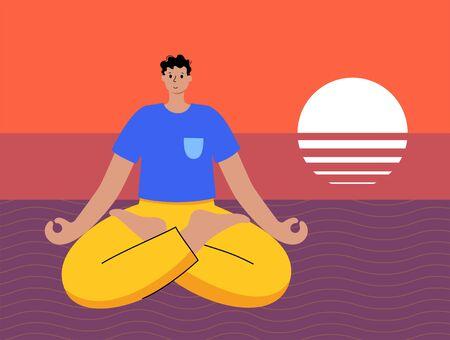 Yoga flat vector illustration. Healthy lifestyle  イラスト・ベクター素材