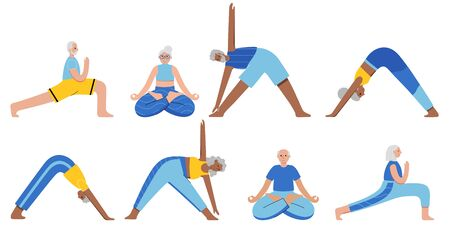 Yoga flat vector illustration. Healthy lifestyle Vettoriali