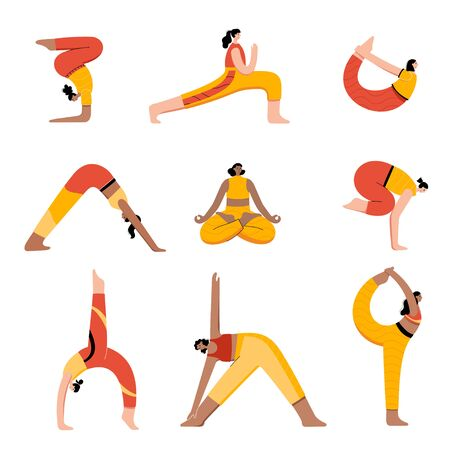 Set of women performing online yoga exercises at home or at work. Different poses. Adult female cartoon characters. Flat colorful vector illustration. Healthy lifestyle concept for posters, banners Иллюстрация