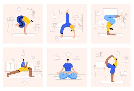 Set of men performing yoga exercises at home or at work. Different isolated poses. Adult male cartoon characters. Flat colorful vector illustration. Healthy lifestyle concept for poster.