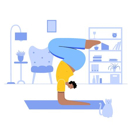 Happy man performs online yoga exercise at home in a room with a cat. Adult male cartoon character. Flat colorful vector illustration. Healthy lifestyle concept for posters and banners.