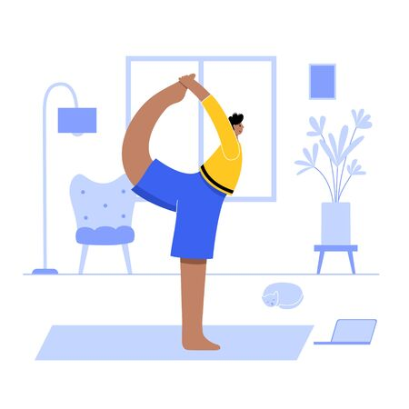 Happy man performs online yoga exercise at home office with a laptop. Adult male cartoon character. Flat colorful vector illustration. Healthy lifestyle concept for posters and banners.