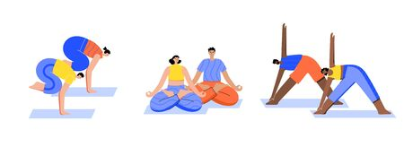 Set of happy couples performs yoga exercises at home or in office. Adult male and female cartoon characters. Flat colorful vector illustration. Healthy lifestyle concept for posters and banners. Иллюстрация