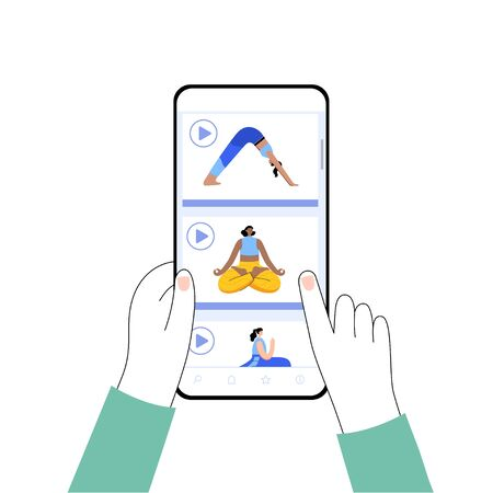 Online application for yoga video exercises with different poses. Woman chooses a lesson on a smartphone. Flat colorful vector illustration for internet template.