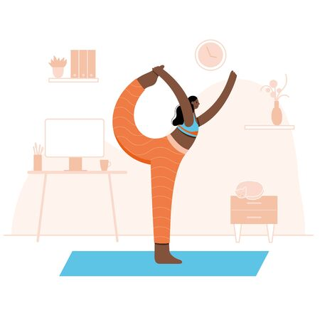Yoga flat vector illustration. Healthy lifestyle
