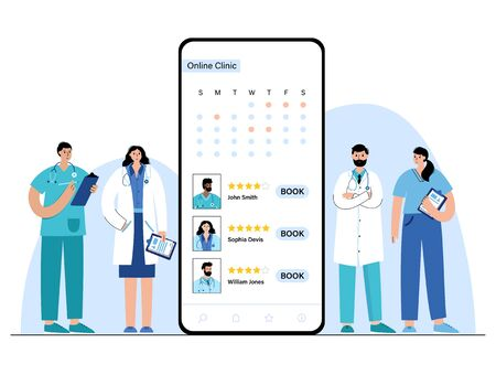 Online clinic and doctor concept