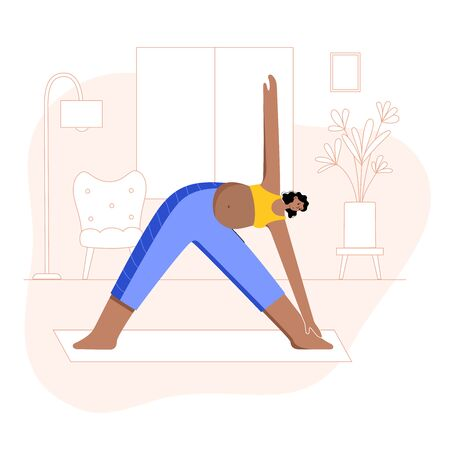 Happy black pregnant woman performs yoga exercise at home. Adult black female cartoon character. Flat colorful vector illustration. Healthy lifestyle and pregnancy concept for poster and banner.