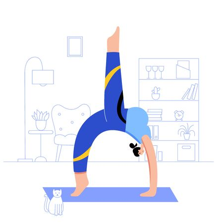 Yoga flat vector illustration. Healthy pregnancy.