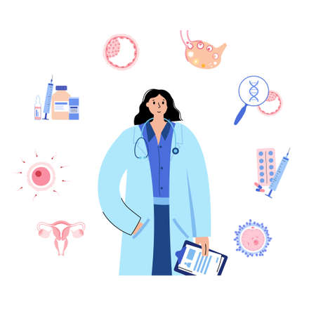 In vitro fertilization. Doctor gynecologist. Embryo development stage. Egg cell collecting in laboratory. Genetic testing. Cyropreservation concept. Medical poster for clinic. Flat vector illustration