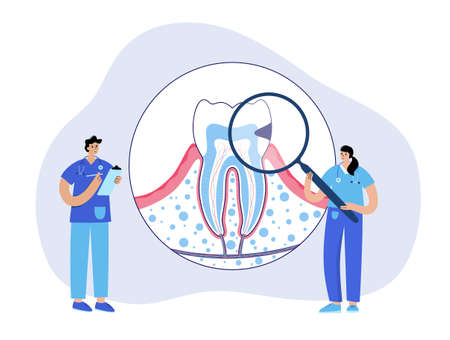 Caries, pain in mouth, toothache disease. Dental clinic . Doctor dentist, stomatology, tooth anatomy poster. Oral hygiene medicine, pills, diagnosis and treatment flat isolated vector illustration