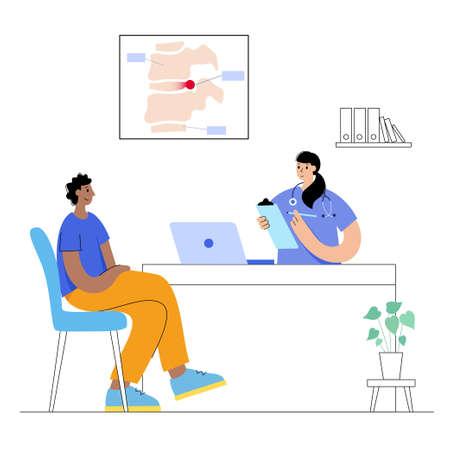 intervertebral hernia concept illustration 向量圖像