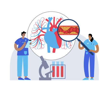 Cholesterol heart disease Vector Illustration
