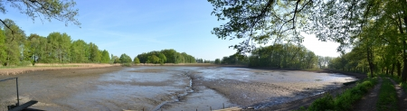 drained: Panoramic view of the pond drained
