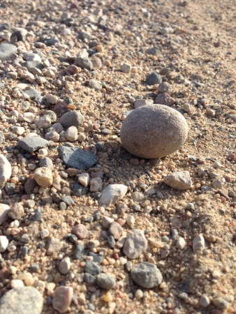Large rock on a gravel path