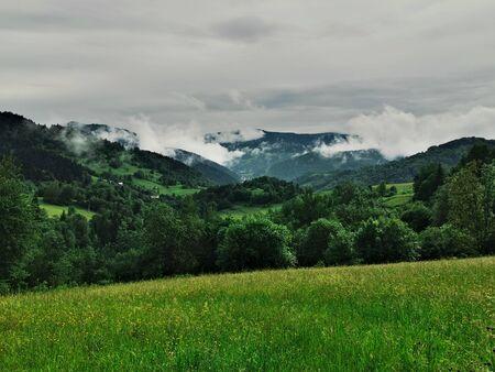 Poland Pieniny Mountains. View of the mountain valley in Pieniny.