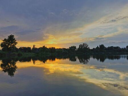 Sunset on the lake. Poland.