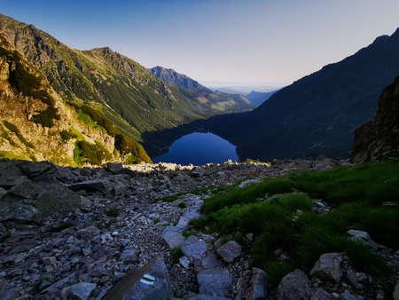 Morskie Oko has a view. Morning above the sea's eye. Holidays in the Tatra Mountains Zakopane.