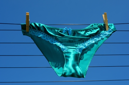 knickers: Saucy silk and lace panties on a respectable suburban washing line.