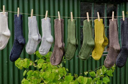 cable knit: Irish wool chunky knit ribbed winter socks Stock Photo