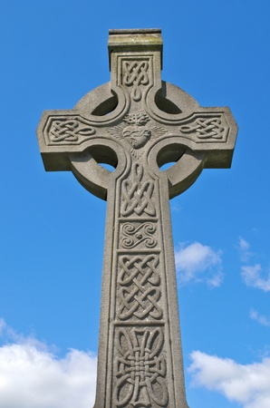 celtic cross: Example of pre 1900 irish celtic cross with traditional celtic carving detail from a grave in the famous landmark Milltown Cemetery Belfast, which is the largest Catholic burial ground in Belfast and synonymous with Irish Republicanism.
