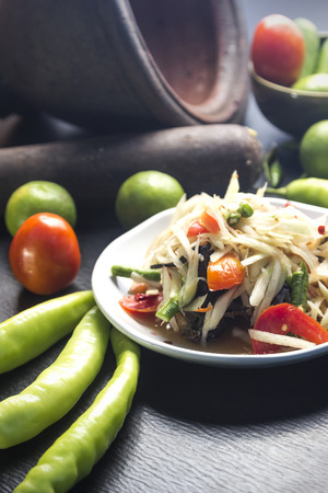 Papaya Salad with Salt Crab Thai food