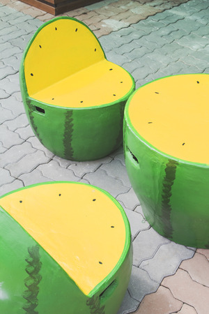 modern chair: Table and chairs watermelon