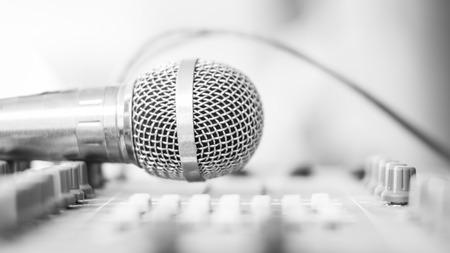 remix: Microphone on mixer studio ,cool tone Stock Photo