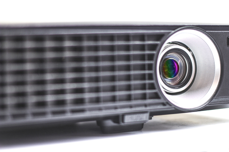 Closeup projector presentation in the conference room table. Stock Photo