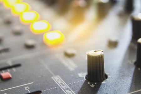 Audio mixing console closeup.
