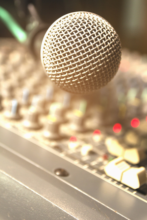 The microphone in the recording room. Stock Photo